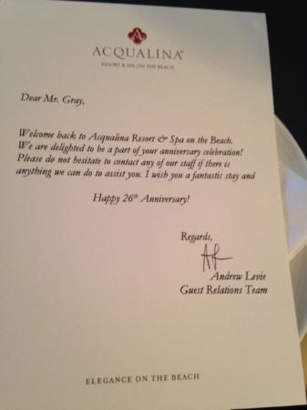 Personalized Welcome Letter  Picture Of Acqualina Resort  Spa