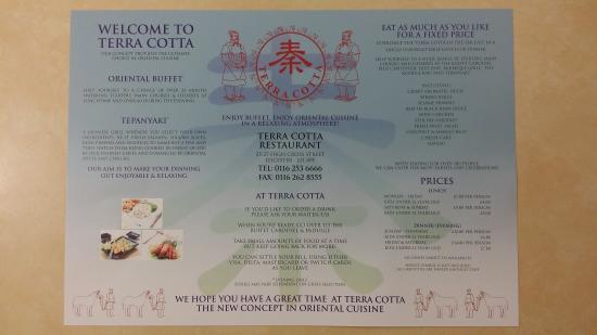 Terra Cotta Restaurant: The Menu