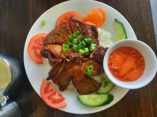 Deep Fried Pork Chop marinated with Lemon Grass, served with