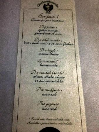 Relais Charles-Alexandre: Breakfast menu - they offer French and English