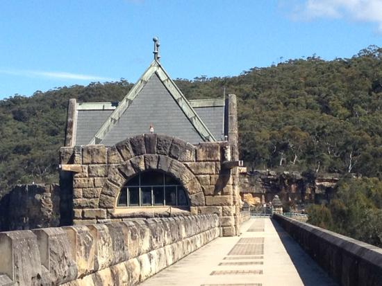 Appin, Australia: Castle like valve house on the dam wall