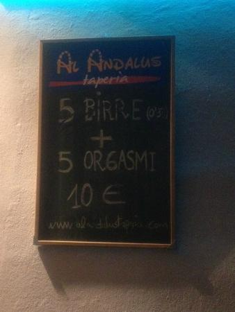 Bar Taperia Al Andalus: Lavagna