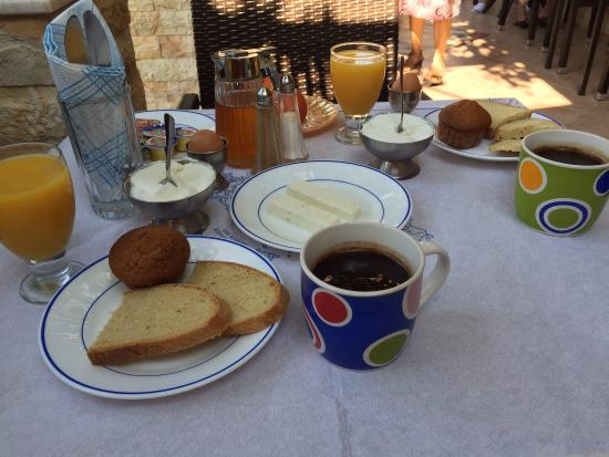 Sofia Pension: Morning Breakfast ~ fresh greek yogurt, coffee, tea, eggs, jam, bread, butter, juices, honey, fe