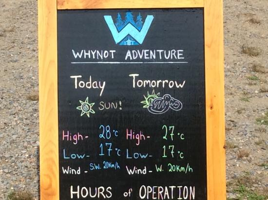 Whynot Adventure: Up to date weather info