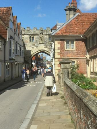 Salisbury Cathedral and Magna Carta: View to the entrance the Cathedral from the High street.