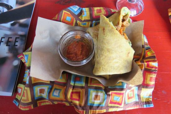 Cafe Estudio : Our home-made whole food BBQ Tofu Wrap!