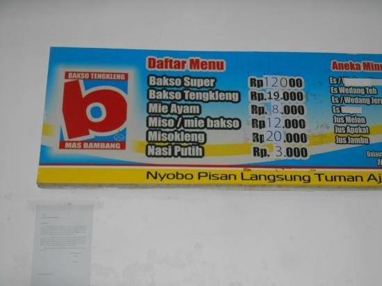 Bakso Tengkleng Mas Bambang: Spanduk menu dan daftar harga makanan ...