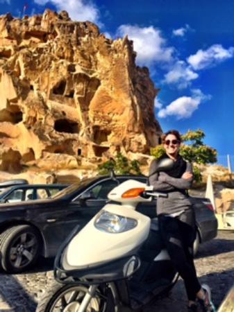 Cappadocia Hitchhiker: Me and my rented scooter at Uchisar Kalesi