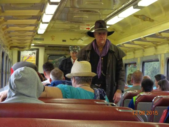 Grand Canyon Railway: Bandit on the train from Grand Canyon train