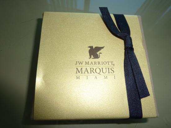 JW Marriott Miami: Chocolates de boas vindas