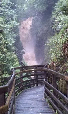 Glenariffe, UK: Spectacular waterfall, Glanariffe, after rainstorm