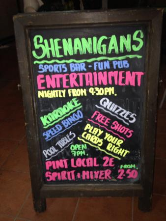 Shenanigans Irish Entertainment Bar Playa del Inglés: Everything they have to offer