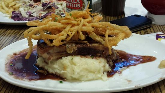 Wolfgang Puck Express: Beacon wrapped Meat loaf / Onion rings and mashed potatoes rates from 1-10 . 10 being excellent.