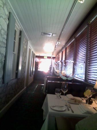 The Oregon Grille : The enclosed porch dining area.
