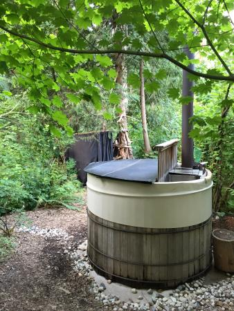 At Kw'o:kw'e:hala Eco Retreat: Hot tub and outdoor shower - not to be missed.