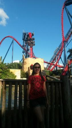 Busch Gardens: Em frente a montanha russa que mais gelou a minha barriga!!