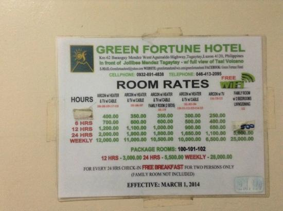 Picnic Grove Room Rates