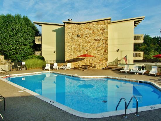 The Pines: There is an outdoor pool between two of the three one bedroom buildings