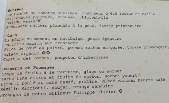 menu de la table bistrot chic 52 le midi entr e