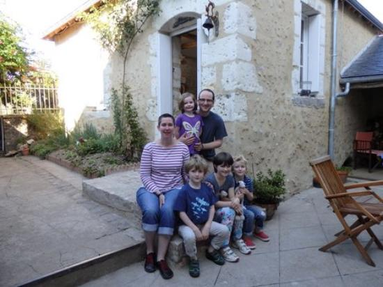 Buchanan family after breakfast in the courtyard at Le Chaton Rouge