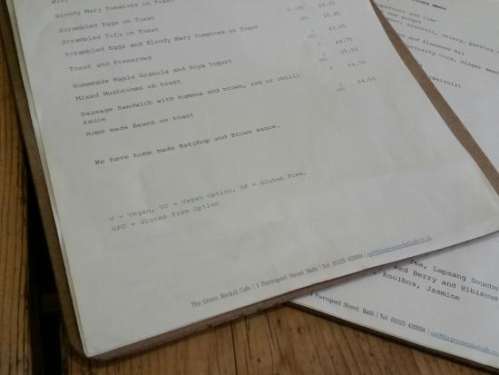 The Green Rocket: menu