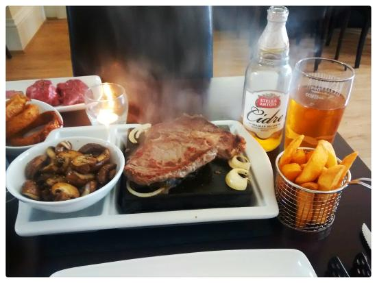 The Sizzling Stone: Ribeye and brilliant chips