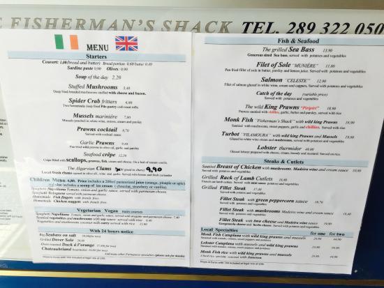 The Fisherman's Shack : Menu