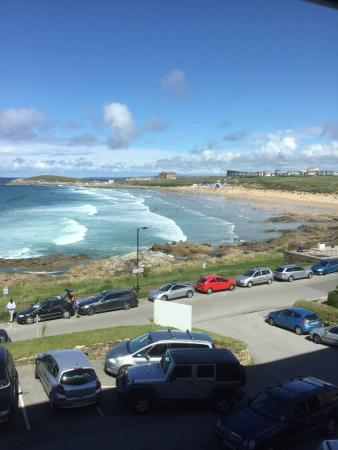 Fistral Beach: view from hotel over beach
