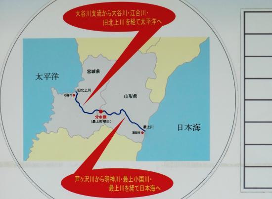 Sakaida Bunsuirei: 堺田分水嶺 地図上が南右が日本海左が太平洋経由河川名