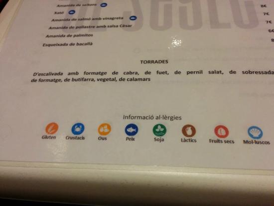 El Segle: Buen detalle alimentario en la carta