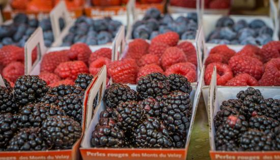 Marche Provencal: These fresh berries were admittedly appearing in August only. So amazing, though. :)