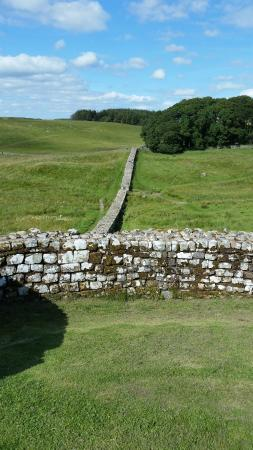 Heart of Scotland Tours: Hadrian's Wall, extending out from the fort