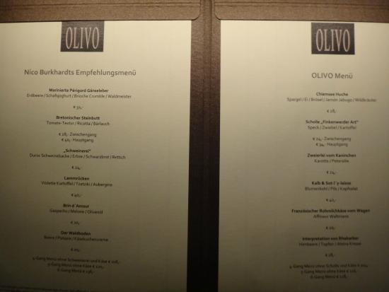 OLIVO - Gourmetrestaurant: МЕНЮ