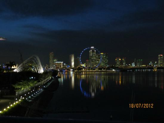 Marina Barrage: Night view of Singapore Skyline