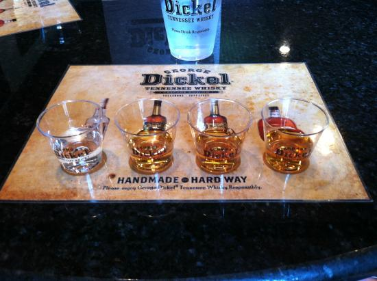 George Dickel Distillery: Tasting selections at end of tour