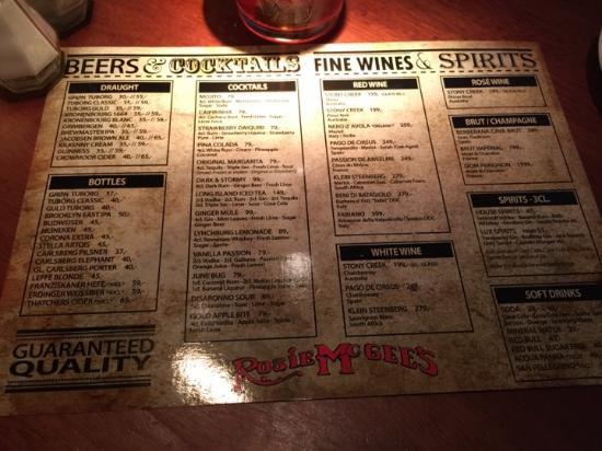 Rosie McGee's Restaurant & Bar: Drinks menu