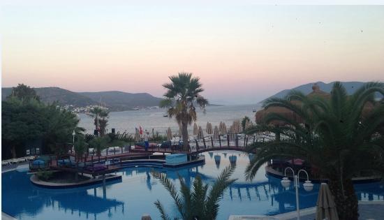 Salmakis Resort & Spa: piscine et plage vue depuis chambre 111