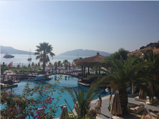 Salmakis Resort & Spa: piscine et baie à tombée du jour