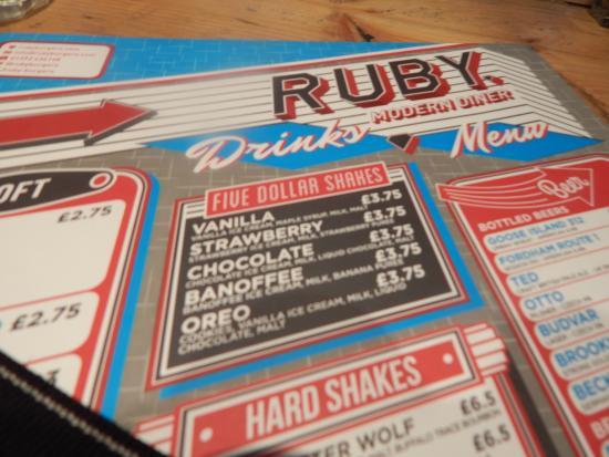 RUBY Modern Diner: copy of menu