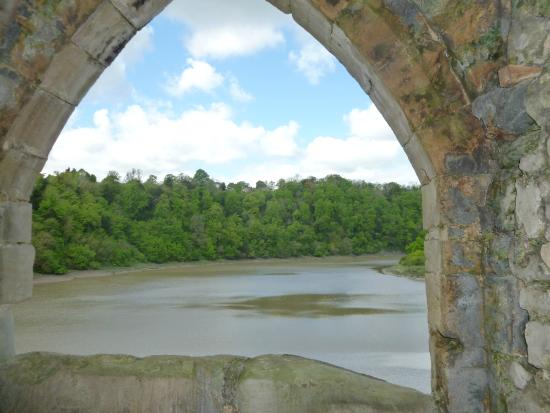 Raglan Castle: looking out onto river