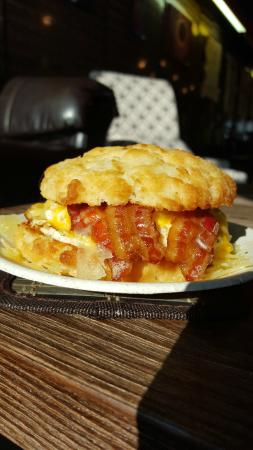 The Brew Bar: Bacon, Egg, and Cheese Biscuit!  Yum!!!