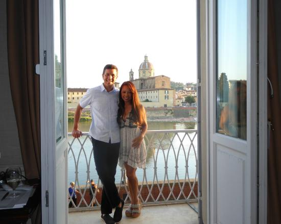 The Westin Excelsior Florence: On our balcony, view of Arno River in background