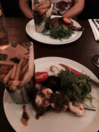 Helperby, UK: Rib Eye and Surf & Turf with Chimichurri sauce