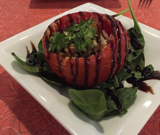 Mezcal Tequila Cantina: Baked, stuffed tomato with cheese and habanero crouton.