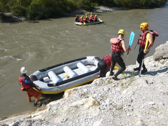 Buena Vista Rafting: Prepping the raft for sliding