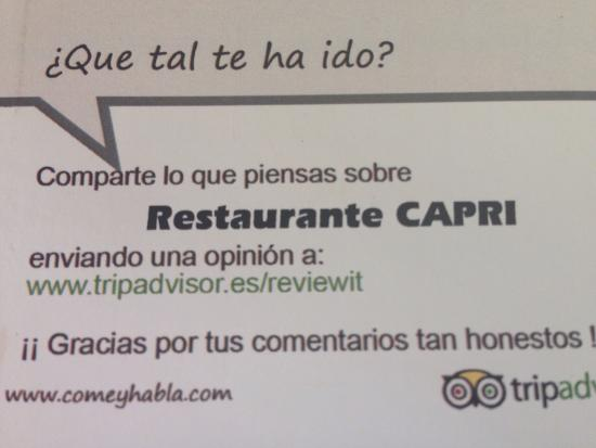 Restaurante Capri : Tarjeta