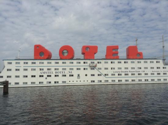 Amstel Botel: Easy to spot from the ferry over!