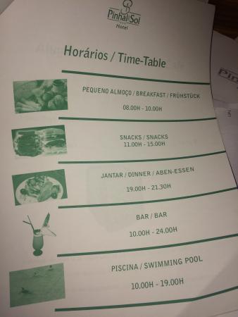 Pinhal do Sol Hotel: Restaurant Times