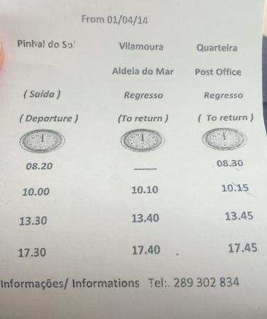 Pinhal do Sol Hotel: Bus Times