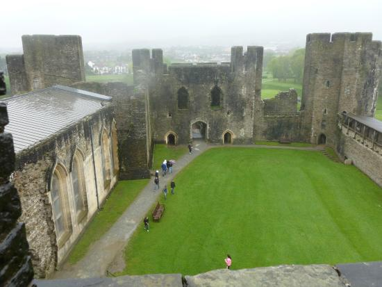 Caerphilly Castle: looking down into the inner keep area
